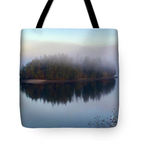 Island In The Autumn Mist Tote Bag