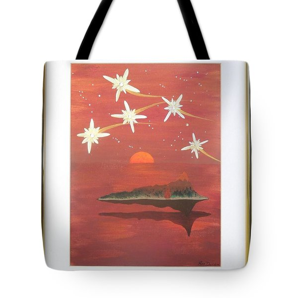 Tote Bag featuring the painting Island In The Sky With Diamonds by Ron Davidson