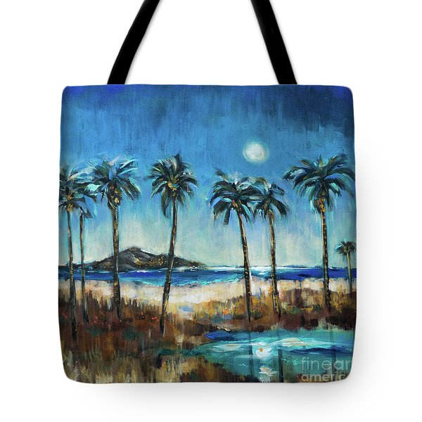 Island Lagoon At Night Tote Bag