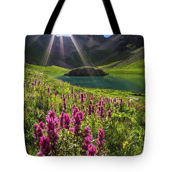 Island Lake Flowers Tote Bag