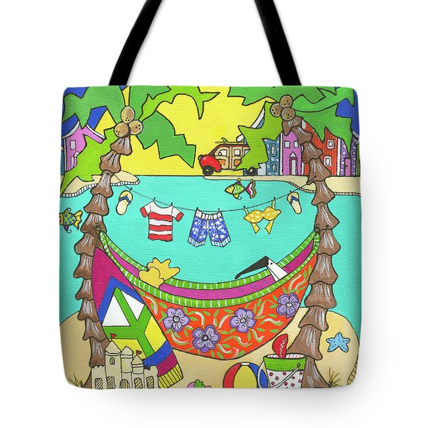 Tote Bag featuring the painting Island Life by Rosemary Aubut