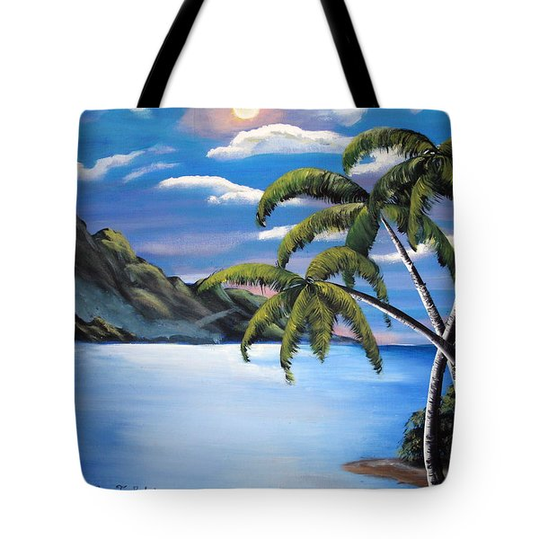 Island Night Glow Tote Bag by Luis F Rodriguez