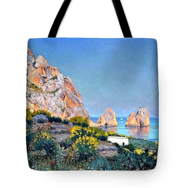 Tote Bag featuring the painting Island Of Capri - Gulf Of Naples by Rosario Piazza