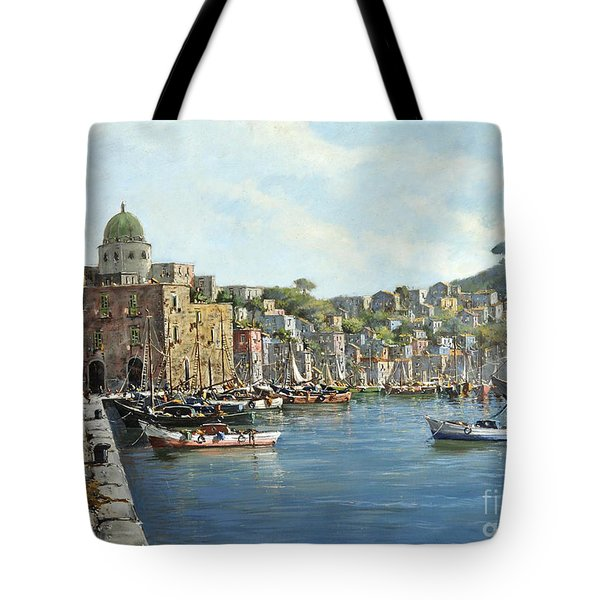 Island Of Procida - Italy- Harbor With Boats Tote Bag