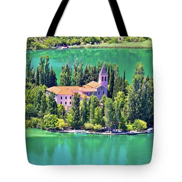 Island Of Visovac Monastery In Krka  Tote Bag