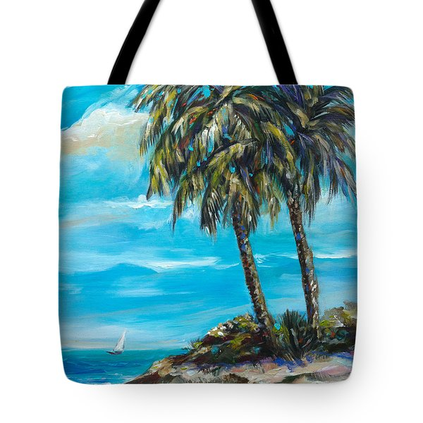Tote Bag featuring the painting Island Sail by Linda Olsen