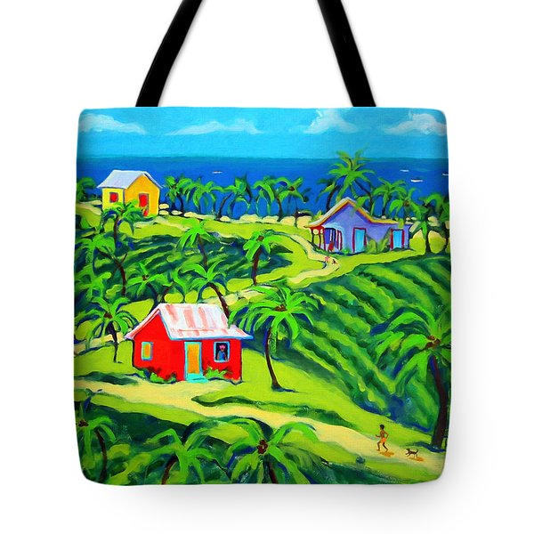 Island Time - Colorful Houses Caribbean Cottages Tote Bag