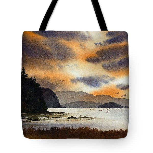 Tote Bag featuring the painting Islands Autumn Sky by James Williamson