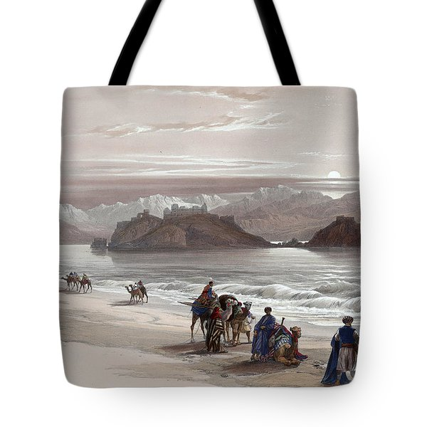 Isle Of Graia Gulf Of Akabah Arabia Petraea Feby 27th 1839 Tote Bag by Munir Alawi