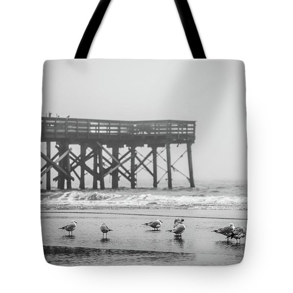 Isle Of Palms Pier And Fog Tote Bag
