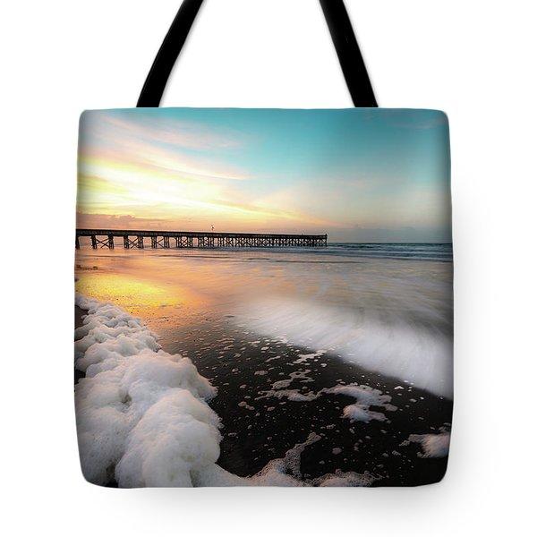 Isle Of Palms Pier Sunrise And Sea Foam Tote Bag