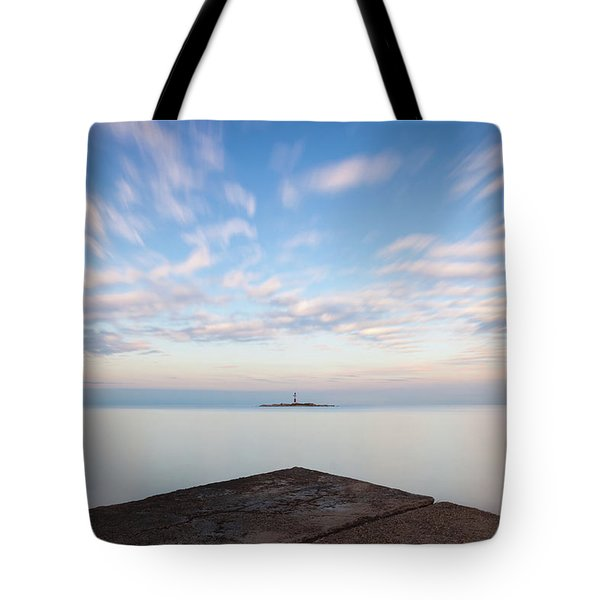 Tote Bag featuring the photograph Islet Baraban With Lighthouse by Davor Zerjav