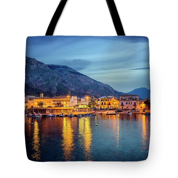 Isola Delle Femmine Harbour Tote Bag by Ian Good