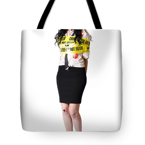 Isolated Female Murder Victim Over White Tote Bag