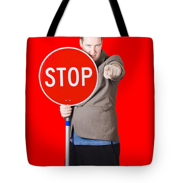 Isolated Man Holding Red Traffic Stop Sign Tote Bag