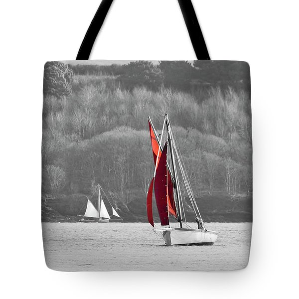 Isolated Yacht Carrick Roads Tote Bag