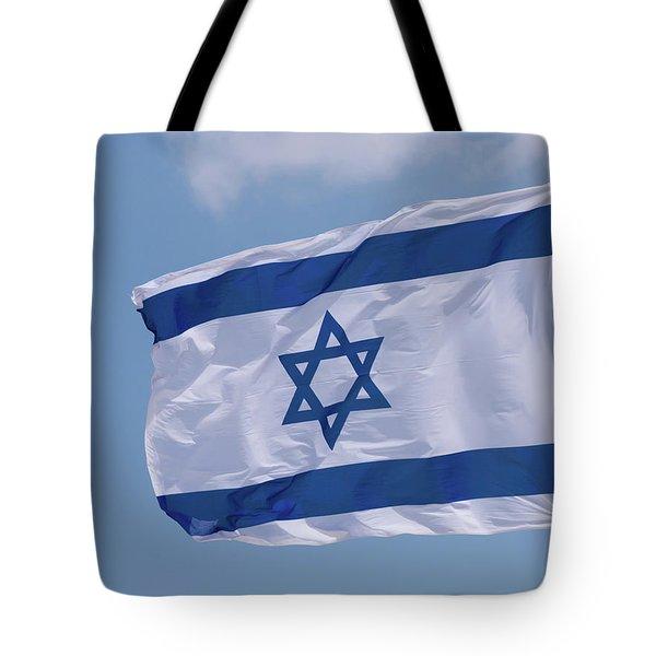 Israeli Flag In The Wind Tote Bag by Yoel Koskas