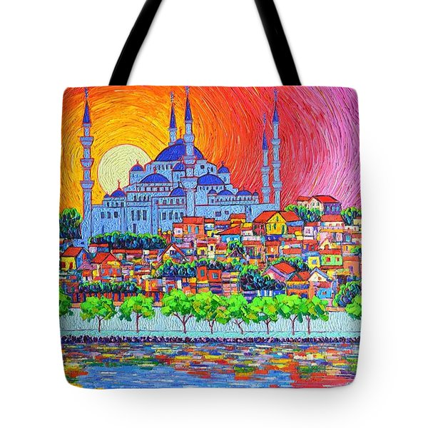 Istanbul Blue Mosque Sunset Modern Impressionist Palette Knife Oil Painting By Ana Maria Edulescu    Tote Bag