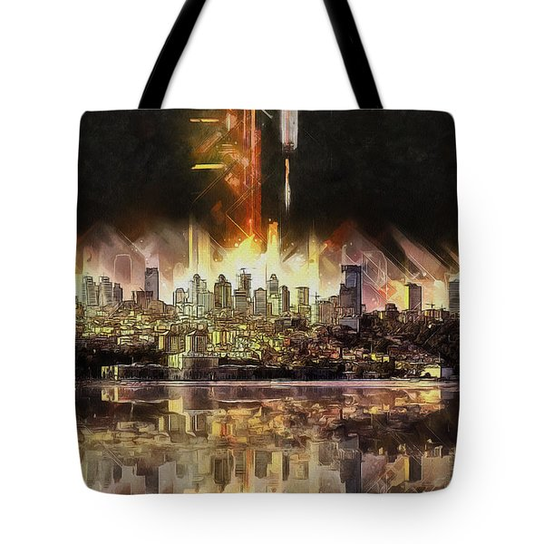 Tote Bag featuring the painting Istanbul In My Mind by Kai Saarto