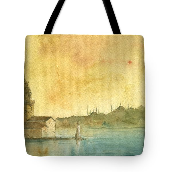 Istanbul Maiden Tower Tote Bag