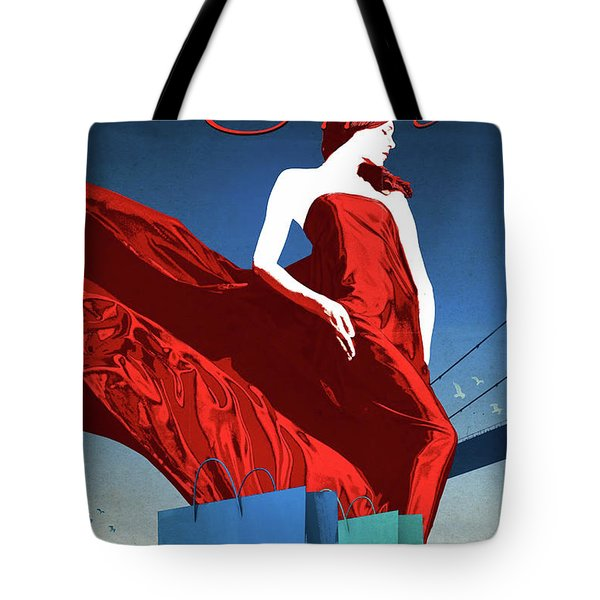 Istanbul Shopping, Girl In Red Dress Tote Bag