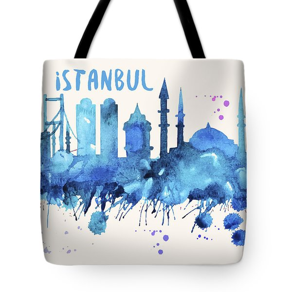 Istanbul Skyline Watercolor Poster - Cityscape Painting Artwork Tote Bag