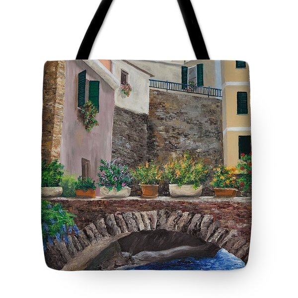 Italian Arched Bridge With Flower Pots Tote Bag by Charlotte Blanchard