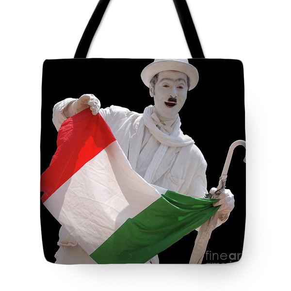 Tote Bag featuring the photograph Italian Charlie Chaplin by Frank Stallone