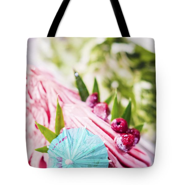 Italian Gelato Raspberry Ice Cream With Blue Umbrella Tote Bag