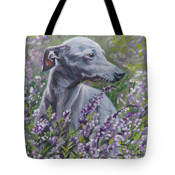 Tote Bag featuring the painting  Italian Greyhound In Flowers by Lee Ann Shepard