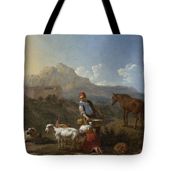 Italian Landscape With Girl Milking A Goat Tote Bag by Karel Dujardin
