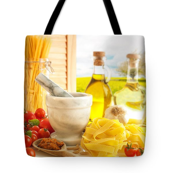Italian Pasta In Country Kitchen Tote Bag by Amanda Elwell