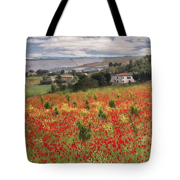 Italian Poppy Field Tote Bag