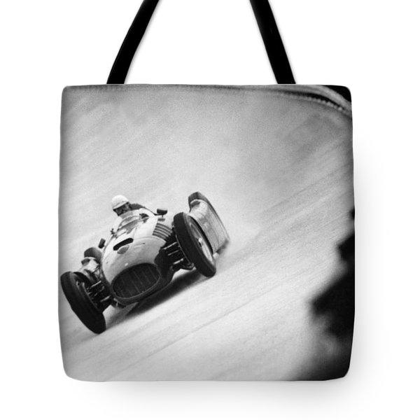 Italian Racing Driver Nino Farina Driving His Ferrari At Monza  Tote Bag