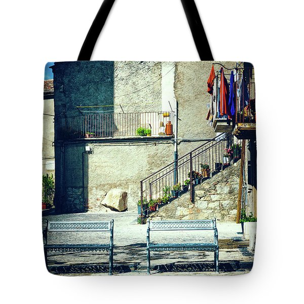Tote Bag featuring the photograph Italian Square With Benches by Silvia Ganora