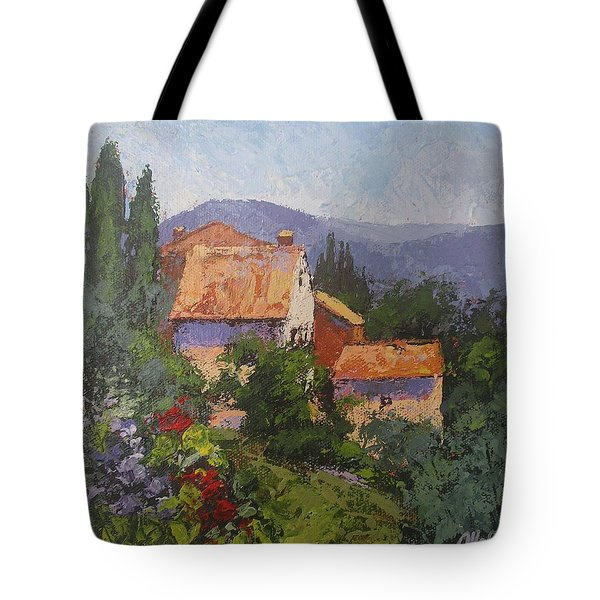 Tote Bag featuring the painting Italian Village by Chris Hobel