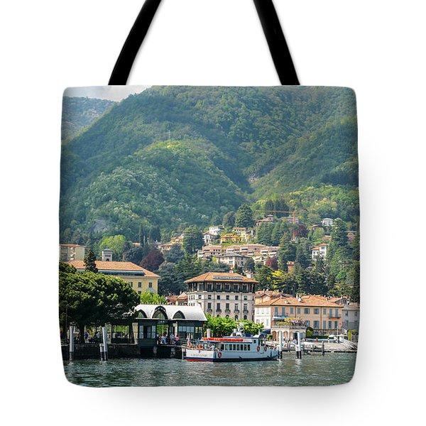 Italian Village On Lake Como Tote Bag