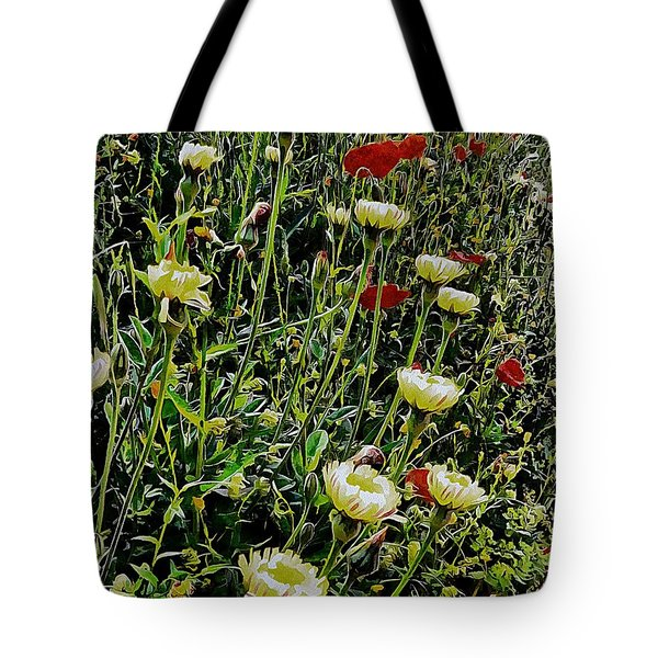 Italian Wildflowers With Red Poppies Tote Bag