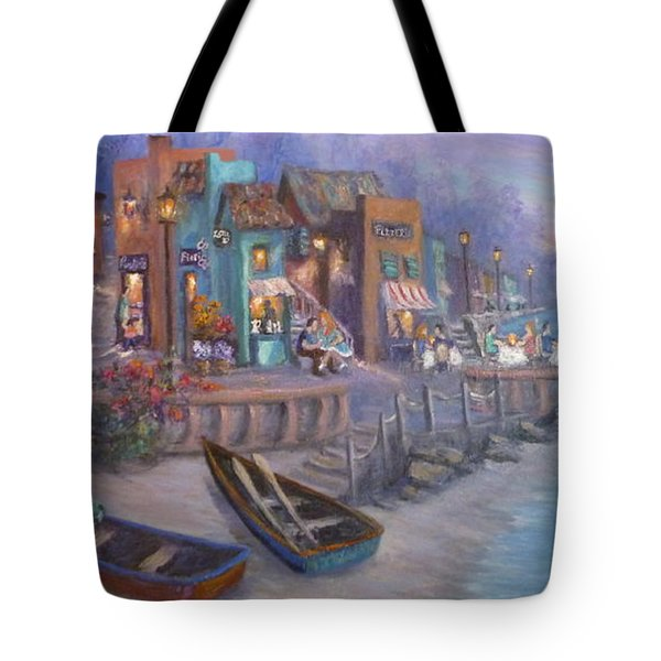 Italy Tuscan Decor Painting Seascape Village By The Sea Tote Bag