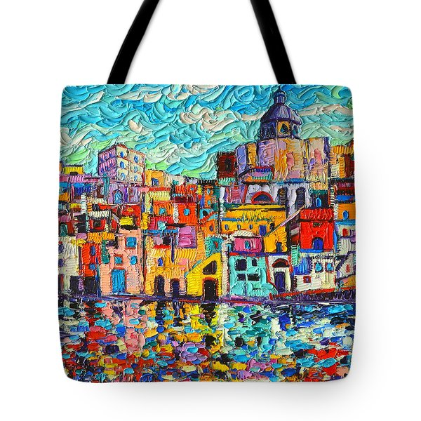 Italy Procida Island Marina Corricella Naples Bay Palette Knife Oil Painting By Ana Maria Edulescu Tote Bag