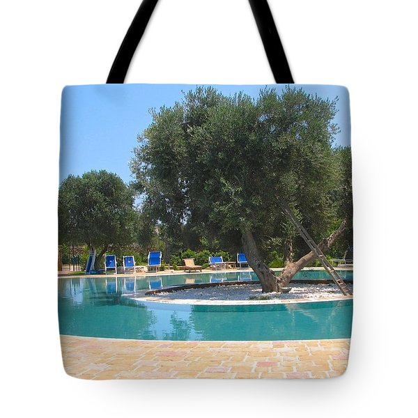 Italy Resort- Olive Tree In Pool Tote Bag