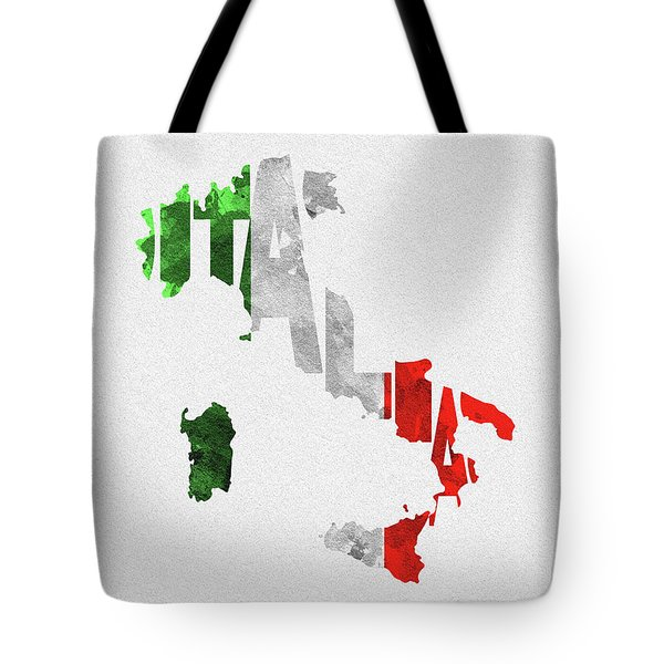 Italy Typographic Map Flag Tote Bag
