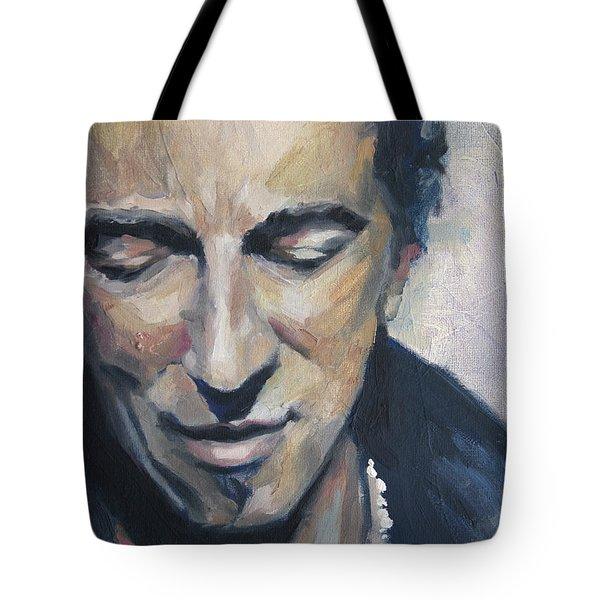 It's Boss Time II - Bruce Springsteen Portrait Tote Bag by Khairzul MG