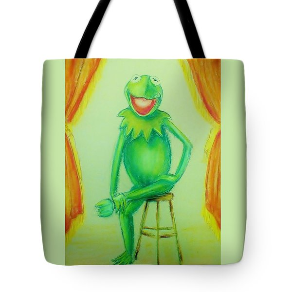 Tote Bag featuring the drawing It's Not Easy Being Green by Denise Fulmer