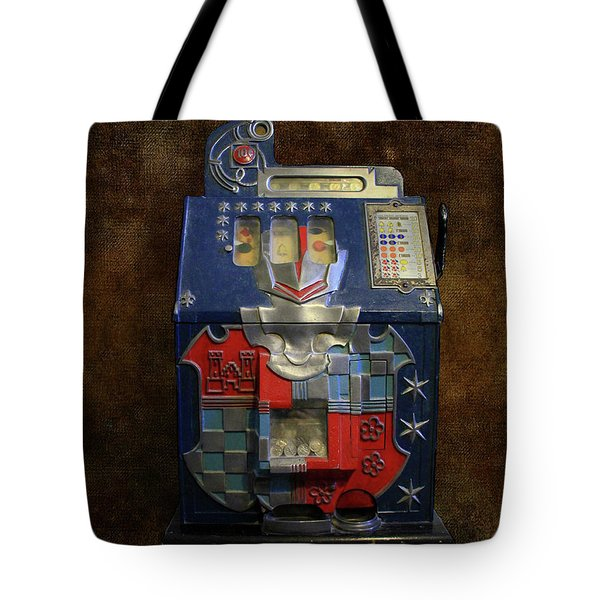 It's Your Dime-1936 Antique Slot Machine Tote Bag by Donna Kennedy