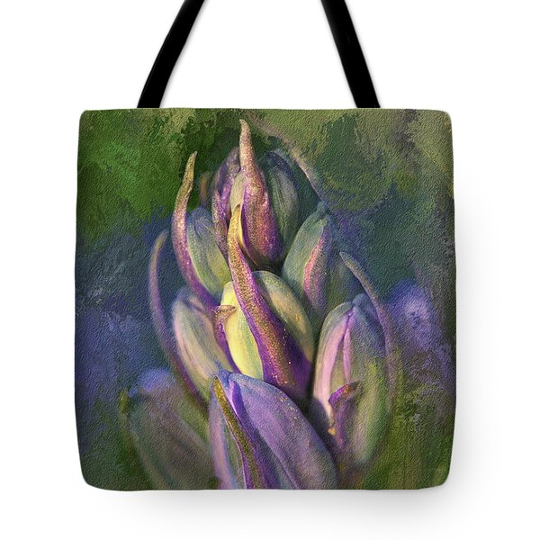 Tote Bag featuring the digital art Itty Bitty Baby Bluebells by Lois Bryan
