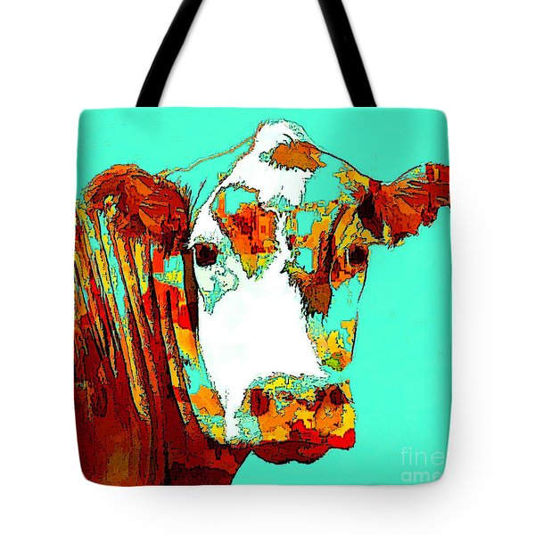 Turquoise Cow Tote Bag