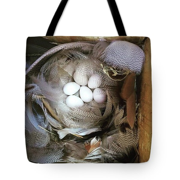 Tree Swallow Nest Of Feathers Tote Bag by Heidi Hermes