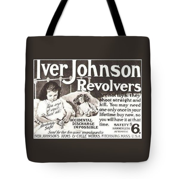 Tote Bag featuring the digital art Iver Johnson Revolvers by Reinvintaged