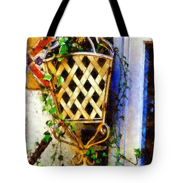 Ivy French Country White Tote Bag by Janine Riley